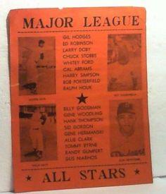 Rare 1954 Major League Baseball All Stars All-Star Poster & Press Score Chart