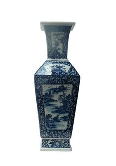 Chinese Blue & White Porcelain Square Scenery Vase - Golden Lotus Antiques