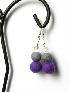 Felted earrings 41 balls cracked glass beads by MarudaFelting