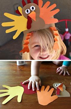 Handprint Turkey Hat | Click for 30 DIY Thanksgiving Crafts for Kids to Make | Easy Thanksgiving Crafts for Toddlers to Make
