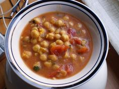 Chickpea soup recipe - super easy - generally have everything for it already in the pantry. Used 3 fresh vine ripe tomatoes chopped instead of canned ones.
