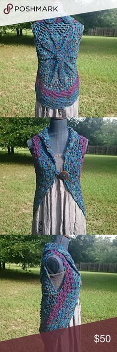 *HP* Crochet Shrug Shell Vest Bolero Boho Festival *HP 11/18* Hand Crocheted in the round (by me), this is a versatile work of art! Star design on the back, accented in pretty shell stitch makes it look lacy. Wear buttoned or take the button and loop off and wear open. One of a kind! Pretty colors, teal, purple and olive. Knitted worsted weight acrylic yarn is washable. Perfect for summer festivals, work or play! Lobax  Sweaters Shrugs & Ponchos