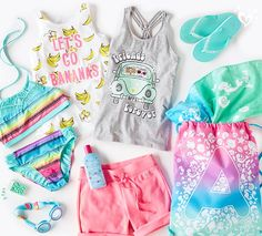 Awesome essentials to pack for a stylish day at the beach. Cute Girl Outfits, Outfits For Teens, Sport Outfits, Summer Outfits, Girls Sports Clothes, Mode Kawaii, Gymnastics Outfits, Justice Clothing, Girls Bathing Suits