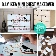 DIY IKEA mini chest makeover (and other furniture make-over ideas). Furniture Makeover, Diy Furniture, Ikea Makeover, Cute Crafts, Diy Crafts, Ikea Decor, Creation Deco, Ideas Geniales, Idee Diy