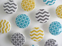 Yellow Aqua Gray Chevron Knobs Linked Square Pattern by LeilasLoft