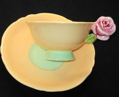 PARAGON PINK ROSE FLOWER HANDLE APRICOT Peach