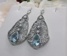 Aquamarine Earrings, Aquamarine Gemstone, Drop Earrings, Victorian Era, Antique Jewelry, Best Gifts, Gemstones, Pearls, Sterling Silver