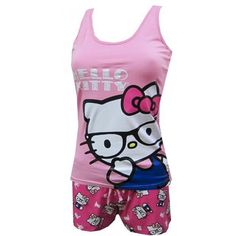 Nerdy Cool Hello Kitty Short Pajama Set ($25) ❤ liked on Polyvore featuring intimates, sleepwear, pajamas, pijamas, hello kitty, tops, shirts, short pajamas, hello kitty pyjamas and short pajama set
