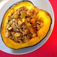 Stuffed Acorn Squash With Turkey and Wild Rice. Ingredients: acorn squash, agave nectar, cooking spray, lean ground turkey, olive oil, onion, celery, garlic, chopped walnut, dried cranberries, wild rice, thyme, salt& pepper, water, orange juice