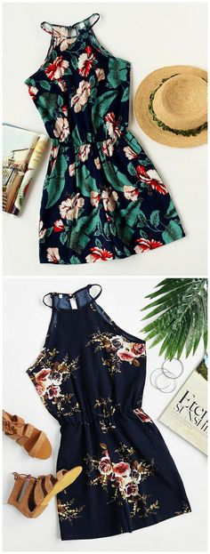 Floral Print Off Shoulder Sleeveless Women's Rompers Playsuits