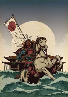 """""""Kusunoki Masashigue"""" 楠木 正成 1294-4 de julio, 133 Fue un samurái terrateniente de la provincia de Kwatchi. En el año 1331 peleo apoyando al Emperador Go-Daigo, en su intento de quitarle el liderazgo de Japón al Shogunato Kamakura, y es recordado como el ideal de la lealtad samurái. En su primera misión, al mando de 500 tropas, se le unió el príncipe Moriyoshi"""