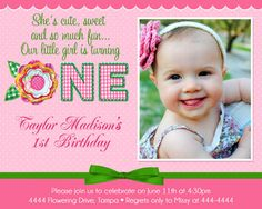 Cupcake Birthday Invitation 1st Birthday by TheTrendyButterfly