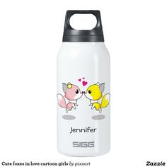 Cute foxes in love cartoon girls insulated water bottle