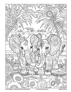 Elephants love coloring page