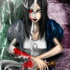 I wish the left side was Alice pre-wonderland. Alice Liddell, Alice Madness Returns, Dark Alice In Wonderland, Adventures In Wonderland, Arte Horror, Horror Art, Lewis Carroll, Dark Fantasy, Fantasy Art