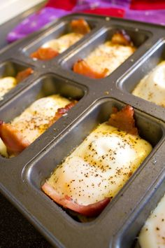 recipe for our favorite baked ham and eggs--make them in mini loaf pans, and they're sandwich-sized!