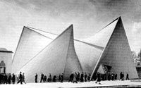 Le  paraboloïde hyperbolique du Pavillon Philips - Expo universelle de Bruxelles - 1958