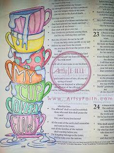Artsy Faith: Psalm 23 | My cup overflows Bible Journaling, Bible Art Journaling, Faith Art