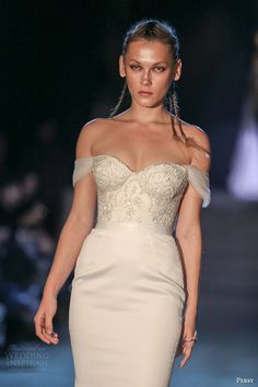 persy couture 2015 wedding dresses off the shoulder corset bodice with embroidery umembellished sheath skirt zoom