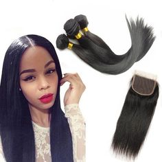 Amapro Hair Peruvian Virgin Hair Straight 3 Pcs with Closure Virgin Peruvian Straight Hair Products Cheap Human Hair Extension