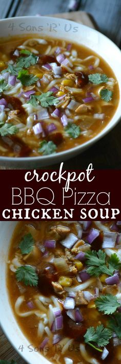 A yummy soup that tastes just like barbecue chicken pizza, but without the carbs. This Barbecue Pizza Chicken Soup is an easy, filling meal that's made in your slow cooker.