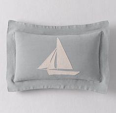 Appliquéd Linen Sailboat Boudoir Sham