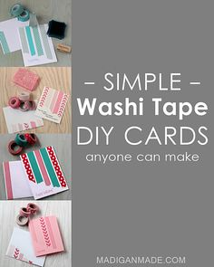 The Simplest DIY Washi Tape Cards - Rosyscription Homemade Birthday Cards, Homemade Greeting Cards, Birthday Greeting Cards, Homemade Cards, Diy Birthday, Birthday Nails, 16th Birthday, Birthday Greetings, Happy Birthday