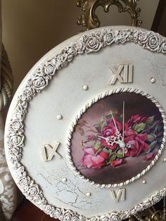 Купить Часы настенные Викторианская роза белые - белый, часы, часы настенные, часы интерьерные