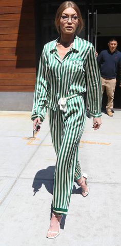 gigi hadid wearing green striped silk pajamas
