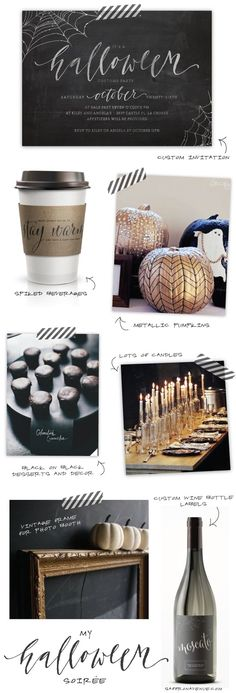I know it's for a Halloween party, but I love the candle centerpieces for a wedding. So glamorous if you can get those same candlesticks/ thin bottles, and probably a ton cheaper than flower arrangements.
