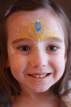 30 Cool Face Painting Ideas For Kids Elsa's Crown. Cool Face Painting Ideas For Kids, which transform the faces of little ones without requiring professional-quality painting skills. Disney Face Painting, Princess Face Painting, Christmas Face Painting, Girl Face Painting, Face Painting Designs, Body Painting, Easy Face Painting, Face Paintings, Halloween Makeup For Kids