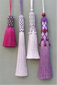 Clare Matthews creates hand woven rugs and tapestries for walls and floors and Passementerie, hand beaded tassels to decorate and accessorize. Diy Tassel, Tassel Jewelry, Diy Jewelry, Beaded Jewelry, Handmade Jewelry, Jewelry Design, Jewelry Making, Jewellery, Beaded Beads