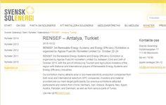 İsveç Güneş Enerjisi Derneği, RENSEF 2015 Fuarı'nı Yayınlıyor