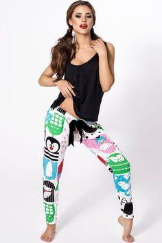 P-531/2 Piżama z kolorowymi długimi spodniami #piżama #kolorowa #czarna #rysunki #pajamas