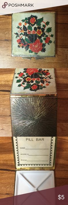 "Vintage Floral Pill Bar Small Storage Box Vintage Floral Pill Bar Small Storage Box   - Measures approximately 2 1/2"" X 2 1/2"".  - Visible signs of cosmetic wear & age Other"