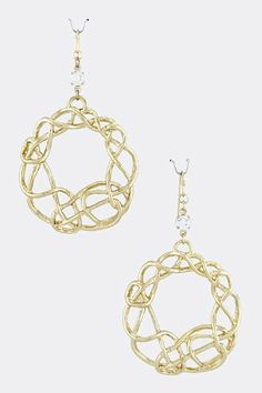 """Gold Coiled Circle Dangle Earrings - Gold Accent Crystal Circle Drop Earrings StarShine Jewelry. $10.10. Drop approx 2.8"""". Fish hook ear wire. Lead compliant. Coil circle earrings"""