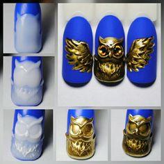 Painted Nail Art, Acrylic Nail Art, 3d Nail Art, Polygel Nails, Cute Nails, Animal Nail Art, Winter Nails, Nails Inspiration, Silver Color