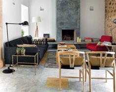 rug, wishbone chairs, sofa, pillows