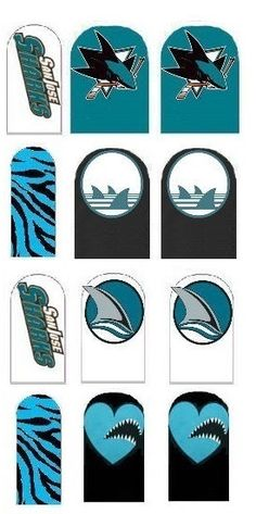 San Jose Sharks Nail Decals by IrocHipHopNailDecals on Etsy https://www.etsy.com/listing/206664310/san-jose-sharks-nail-decals