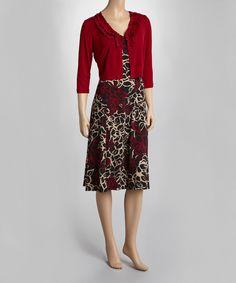 Look at this #zulilyfind! Garnet & Black Floral Sleeveless Dress & Ruffle Cardigan - Women by Gabby Skye #zulilyfinds