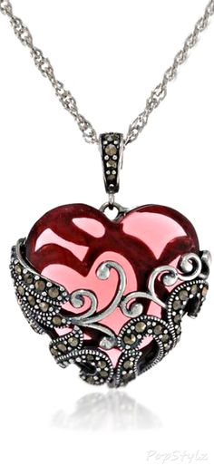 Marcasite Filigree Heart Necklace #streetstyle
