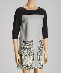 Gray & Black Color Block Owl Dress. I think I will pick a different animal.