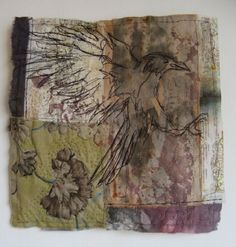 Cas Holmes - tea dye embroidery quilt | crow domestic mapping series paper and textiles layers print worked