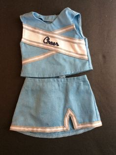 American Girl Cheer Costume Clothes 2 Piece Top Skirt Outfit Authentic Blue Gray #AmericanGirl