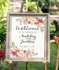 Printable Bohemian Welcome to the wedding sign ! ★ DETAILS: Welcome your guests with this gorgeous watercolor floral greeting sign on your special day. Ps - If you wish you can choose different wording for free. If you need other cards with matching design, faster delivery, different font, background change etc. please buy appropriate add on listing - http://etsy.me/28NkzIu ★ IMPORTANT INFO - please read before you order : This listing includes DIGITAL FILES (not physical prints) • Welco...