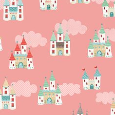 Andover/Makower UK - Fairy Castles in Pink - Tutu Collection - By The Yard by PKFabulousFabric on Etsy
