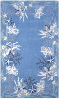 Sealife Rug: Blue And White Coastal Rug With Nautical Theme Rugs #starfish # Rug