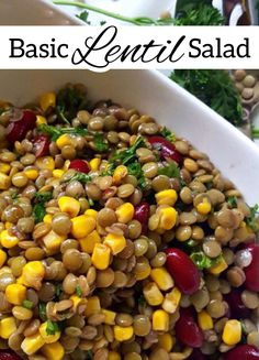This lentil salad is packed with plant-based protein, fiber, folate, iron, manganese and B-vitamins, making it a nutrient-rich meal to take with you on the go! #Lentils #Beans #Fiber #Pulses Lentil Salad Recipes, Vegetarian Recipes, Salad Bar, Soup And Salad, Healthy Cooking, Healthy Eating, Salad Ingredients, Plant Based Recipes, Soups And Stews
