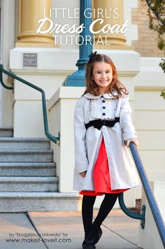 Little Girl's Dress Coat DIY Tutorial is bursting with style | via Make It and Love It