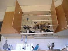 Invented in the 1940's this method to dry your dishes has made it's way to EVERY kitchen in Finland. No more drying your plates with a towel or on a dish rack. Hide them in a dish draining closet. It's amazing this is not yet a world wide kitchen standard!